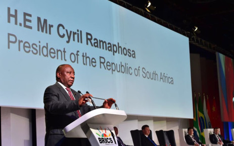 President Cyril Ramaphosa delivering the opening address at the BRICS Summit. Picture: @PresidencyZA/Twitter.