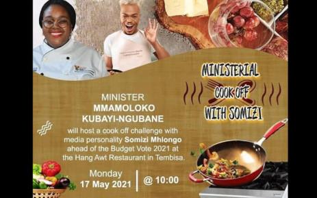 Minister of Tourism Mmamoloko Kubayi-Ngubane will be hosting a ministerial cook-off with Somizi Mhlongo. Picture: @mmKubayiNgubane/Twitter.
