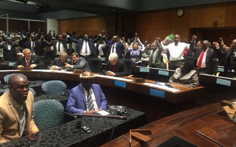 FILE: ANC members in full voice at the Tshwane Council Chambers. Picture: Kgothatso Mogale/EWN.