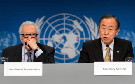 FILE: UN-Arab League envoy for Syria Lakhdar Brahimi and UN Secretary General Ban Ki-Moon attend a press conference closing the so-called Geneva II peace talks dedicated to the ongoing conflict in Syria, on 22 January, 2014, in Montreux. Picture: AFP.