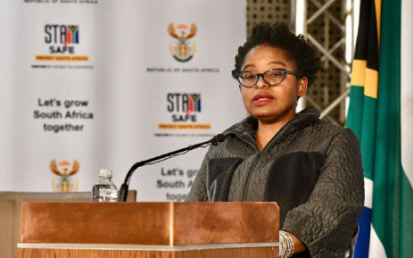 Acting Minister in the Presidency Khumbudzo Ntshavheni briefs the media on 15 July 2021 on the latest updates following seven days of unprecedented violence, looting and destruction. Picture: GCIS