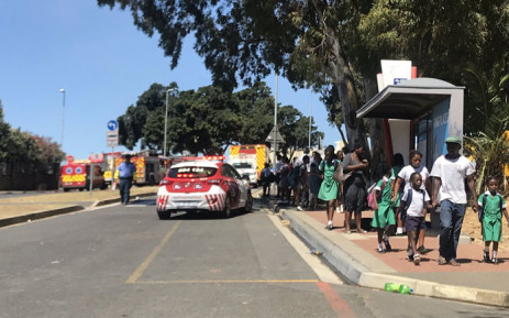 Police and paramedics evacuate learners from the Holy Cross Primary School in Zonnebloem during a fire at the school on 7 February 2019. Picture: Kaylynn Palm/EWN