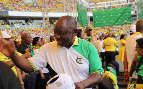 President Cyril Ramaphosa at the ANC's elections manifesto launch in Durban. Picture: Twitter/@MyANC