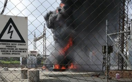 Parts of Kempton Park in Ekurhuleni are now without power after an Eskom substation caught fire earlier on Sunday. Picture: Twitter/Eskom