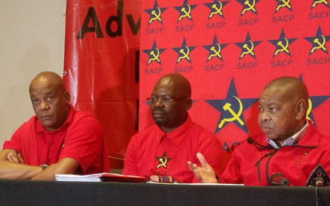 SACP general-secretary Blade Nzimande (left), SACP first deputy general-secretary Solly Mapaila (centre) and second general-secretary Chris Matlhako (right). Picture: Twitter/ @SACP1921.