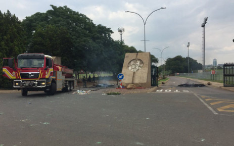 FILE: This file photo shows a fire truck on scene at TUT's Pretoria campus after student protested about accommodation. Picture: Pelane Phakgadi/EWN.