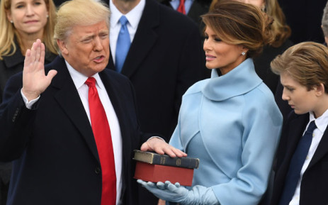 FILE: Donald Trump is sworn in as the US President on January 20, 2017 at the US Capitol in Washington, DC. Picture: AFP.