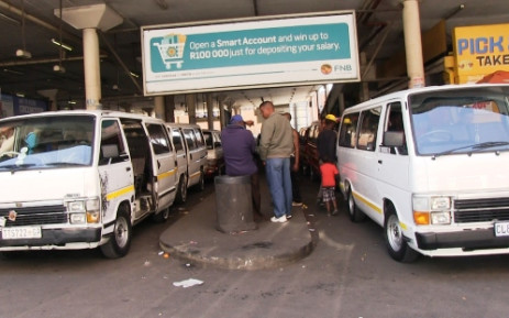 Taxi drivers holding a go-slow gathered at the Noord Taxi Rank in the Johannesburg CDB. Picture: EWN