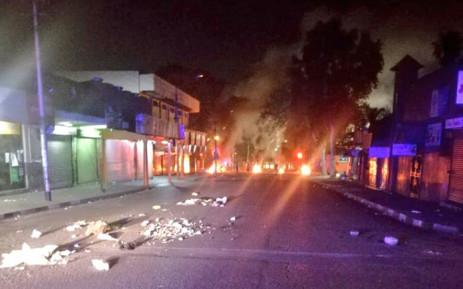 Debris burns along Turffontein Road & Hay Street in Turffontein, Johannesburg on 2 September 2019. Picture: @AsktheChiefJMPD/Twitter