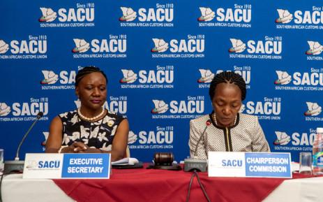 Sacu executive secretary Paulina Elago (left) at the 54th Meeting of the SACU Commission in Windhoek, Namibia on 3 December 2019. Picture: @SACUSEC/Twitter