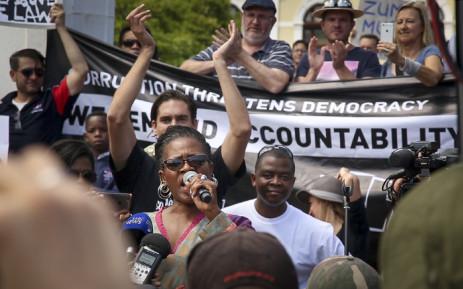 Mpho Tutu addresses Zuma Must Fall protesters in the Company Gardens in Cape Town on 16 December 2015. Picture: Aletta Harrison/EWN.