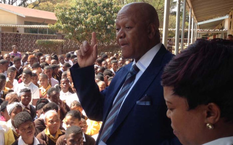 Minister in the presidency Jeff Radebe visits the Eesterust Secondary School on 14 August 2015. Pitcure: Vumani Mkhize/EWN.