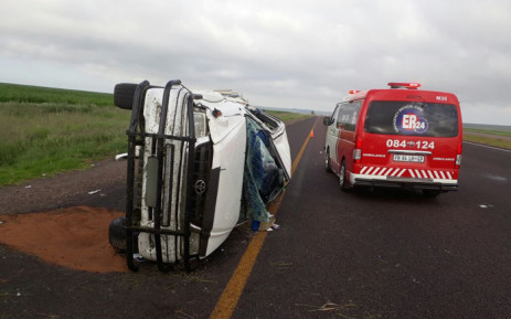 A bakkie lies on the emergency lane off the N4 highway following an accident that left four injured. Picture: ER24.