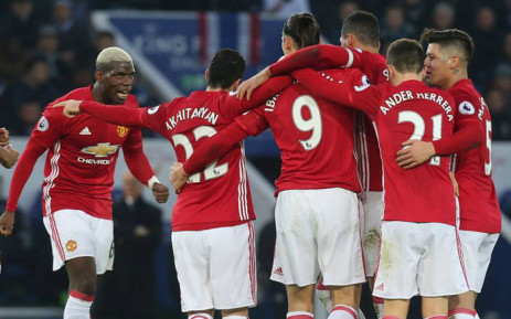 Manchester United players celebrate their victory against struggling Leicester City after beating them 3-0 in the English Premier League on 5 February 2017. Picture: Facebook.