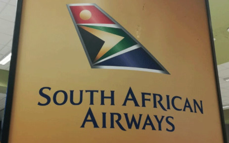The South African Airways logo at the OR Tambo International Airport. Picture: Winnie Theletsane/EWN.
