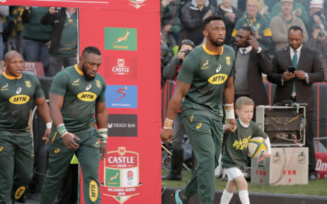 FILE: Captain Siya Kolisi leads the Springboks out. Picture: AFP