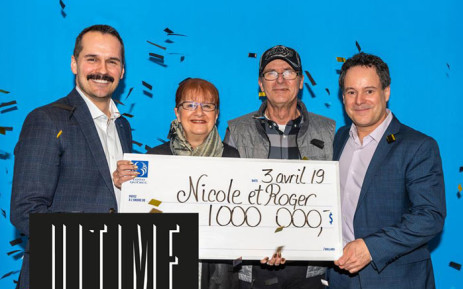 Nicole Pedneault and Roger Larocque (centre) Canadian lottery winners. Picture: facebook.com