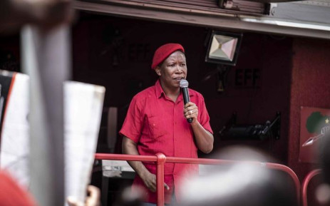EFF leader Julius Malema outside Brooklyn police station addressing his supporters. Picture: Abigail Javier/EWN