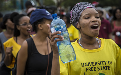 University of the Free State students sing and dance during demonstrations on the main campus in Bloemfontein over transformation issues. Picture: Reinart Toerien/EWN.