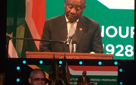 President Cyril Ramaphosa pays tribute to former ANC stalwart Mendi Msimang. Picture: Robinson Nqola/EWN.