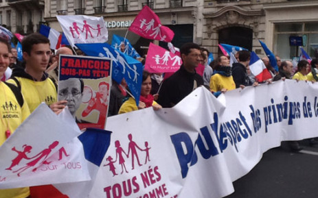 French protesters marched on the streets of Paris against a law which allows same sex marriages. Picture: Lebogang Moeketsi/EWN