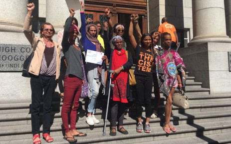 Activists gathered in support of transgender inmate Jade September, who won a case against the Department of Justice and Correctional Services after she was  sent to a correctional facility for men. Picture: Jarita Kassen/EWN.