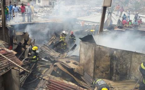 17 shacks were destroyed during ablaze in Alexandra on Friday 13 November 2015. Picture: ER24EMS via Twitter.
