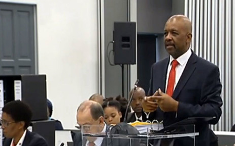 A screengrab shows Advocate Dali Mpofu at the state capture inquiry on 13 March 2019, where he is representing former Sars commissioner Tom Moyane.