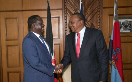 Kenyan President Uhuru Kenyatta (right) and opposition leader Raila Odinga (left) met on Friday 9 March 2018. Picture: @UKenyatta/Twitter