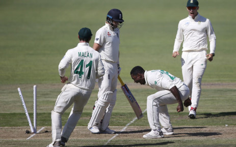 South Africa's Kagiso Rabada (2ndR) celebrates after the dismissal of England's Joe Root (2ndL) while South Africa's Pieter Malan (L) and South Africa's Rassie van der Dussen (R) looks on during the first day of the third Test cricket match between South Africa and England at the St George's Park Cricket Ground in Port Elizabeth on 16 January 2020. Picture: AFP