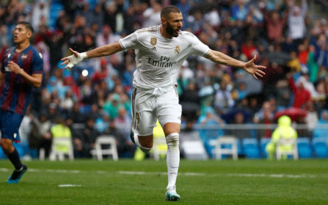 Real Madrid's Karim Benzema celebrates his goal against Levante during their La Liga match on 14 September 2019. Picture: @realmadriden/Twitter