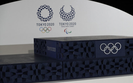 The podium to be used for the medal ceremonies at the Tokyo 2020 Olympics Games is seen during an event to mark 50 days to the opening ceremony, at Ariake Arena in Tokyo on 3 June 2021. Picture: Issei Kato/AFP