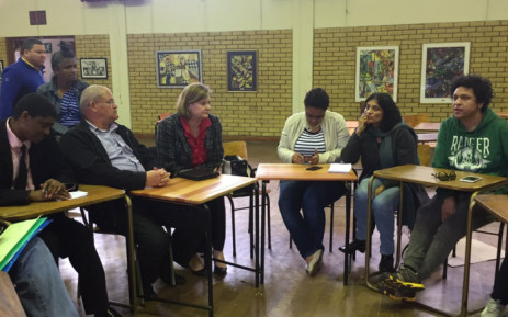 Western Cape Education MEC Debbie Schafer met parents of protesting learners at Sans Souci Girls High School last week. Picture: Monique Mortlock/EWN.
