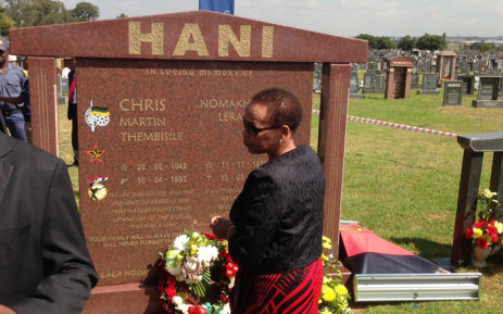 Chris Hani's wife, Limpho Hani, lays a wreath at her late husband's grave site in Boksburg during the official opening of the grave as a heritage site on 10 April 2015. Picture: Govan Whittles/EWN.