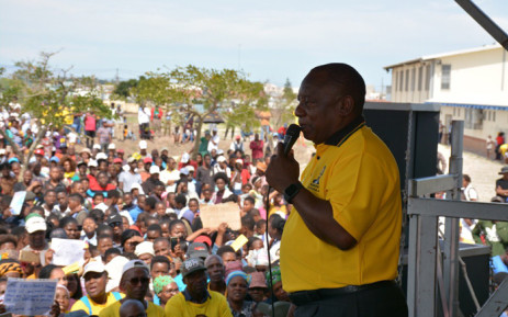 ANC President Cyril Ramaphosa addressing Mfuleni residents on 22 March 2019 during a community meeting in Mfuleni Cape Town. Picture: @MYANC/Twitter