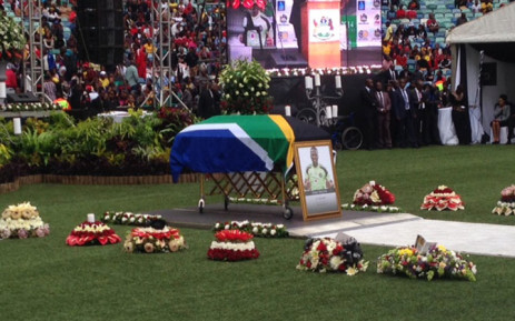 Senzo Meyiwa's casket lies in front of the stage at the Moses Mabhida Stadium on 1 November 2014. Picture: Vumani Mkhize/EWN.