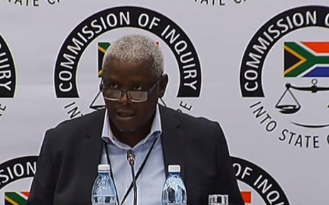 A screengrab shows Former Free State Economic Development MEC Mxolisi Dukwana at the Zondo Commission of Inquiry on 5 April 2019.