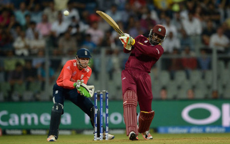 West Indies batsman Chris Gayle smashes the ball for four during the ICC World T20 in Mumbai, India on 16 March 2016. Picture: ECB/Facebook.""