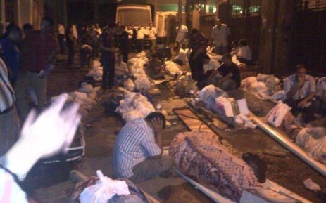 A morgue in Egypt was too full for the many killed in the country's worsening violence, leaving them to put bodies outside. Picture: via Twitter @iFalasteen