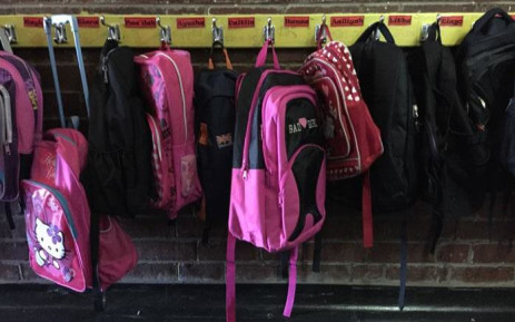 FILE: Backpacks outside a classroom. Picture: Thomas Holder/EWN