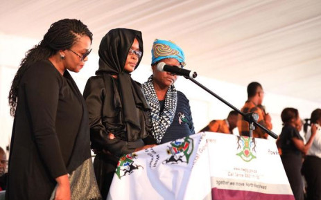 Phil Masinga's wife Ntombi speaking at his funeral on 24 January 2019 at the Khumalo Stadium in Khuma, North West province. Picture: Abigail Javier/EWN