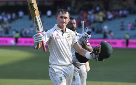 Australia's Marnus Labuschagne (foreground) and Matthew Wade walk off the field at stumps of day one of the third test against New Zealand on 3 January 2020. Picture: @cricketcomau/Twitter