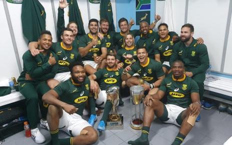 The Springboks celebrates its 46-13 win against Argentina in Salta. Picture: @Springboks/Twitter