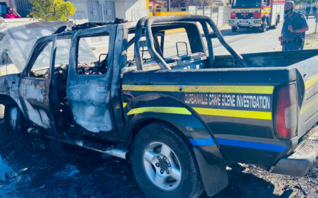 Two police officers are receiving medical treatment after the SAPS vehicle they were travelling in came under attack in Mfuleni. Picture: @bulelani_101 / Twitter
