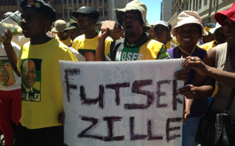 ANC members sing and dance during the DA's march for jobs on 12 February. Picture: Reinart Toerien/EWN.