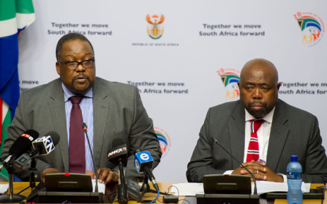 FILE: Police Minister Nathi Nhleko accompanied by Public Works Minister Thulas Nxesi giving an update on the Nkandla Project during the media briefing at Imbizo Media Centre in Cape Town on 28 May 2015. Picture: GCIS