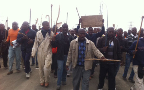 Lonmin miners march, demanding better pay. Picture: Taurai Maduna/EWN.