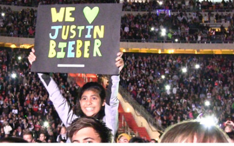 One of the thousands of Justin Bieber fans who packed the FNB stadium in Johannesburg on 12 May 2013. Picture: Reinart Toerien/EWN
