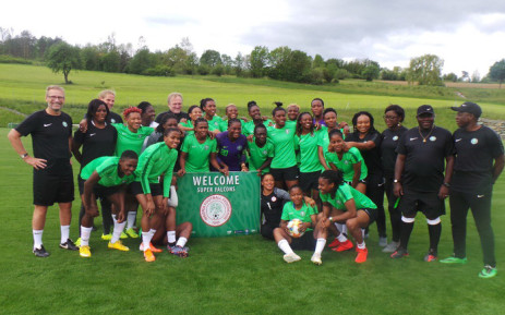 Falcons pose for a group photo after first training at the Avita Resort facility in the Austrian city of Bad Tatzmannsdorf. Picture: @NGSuper_Falcons/Twitter