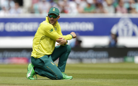 FILE: Proteas captain Faf du Plessis looks on while fielding during the 2019 Cricket World Cup group stage match against Bangladesh at The Oval in London on 2 June 2019. Picture: AFP